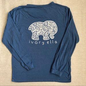 ivory ella Tops - Ivory Ella Blue Elephant T-Shirt